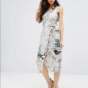 River Island Grey Floral Tiewaist Dress